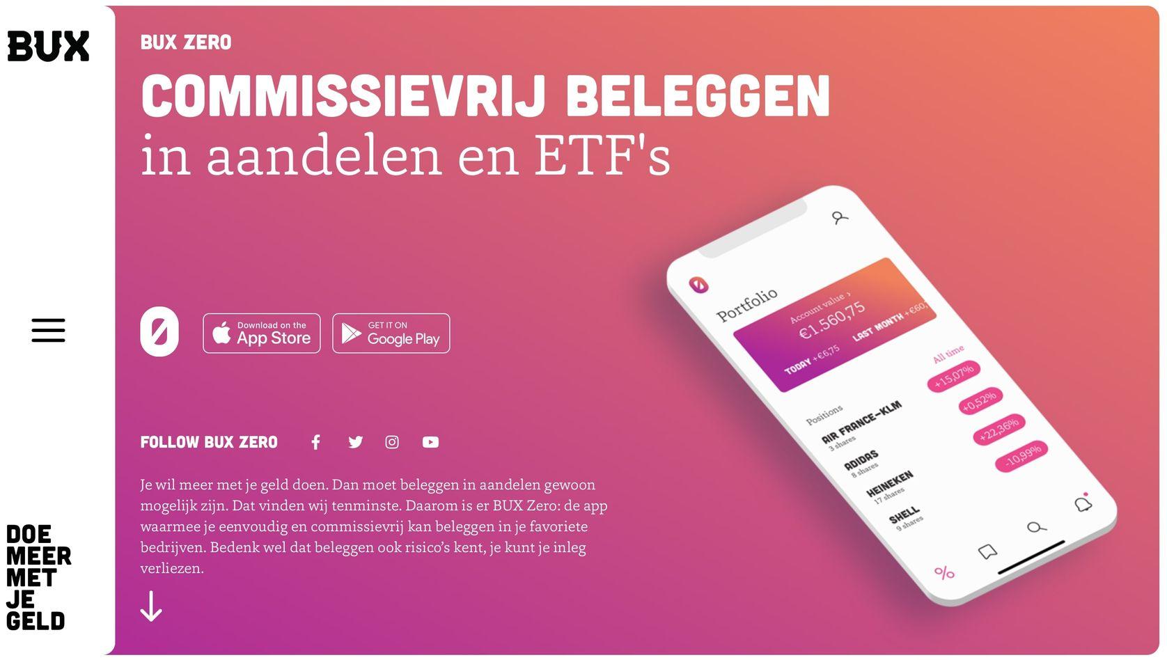 BUX Beleggen, BUX Zero Beleggingsrekening openen